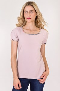 Burberry London Dusty Pink Cotton Short Sleeve Top / Size: L - Fit: M