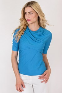 Carven Blue Short Sleeve Top with Draped Details / Size: 42 FR - Fit: S