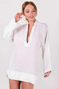 Yves Saint Laurent White Linen Long Sleeve Tunic / Size: 38 FR - Fit: S