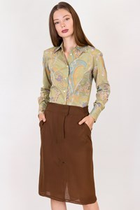 Yves Saint Laurent Brown Silk Lightweight Skirt / Size: ? - Fit: S
