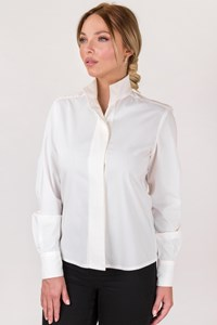 Cerruti 1881 White Cotton Shirt with High Neck / Size: 42 IT - Fit: S