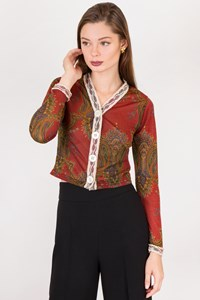 Voyage Multicoloured Cardigan with Paisley Print / Size: One size - Fit: XS / S