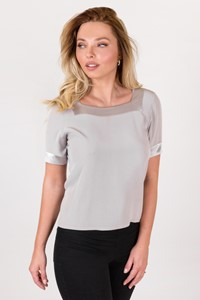 Yves Saint Laurent Ice Grey Square Neck Top / Size: ? - Fit: S / M