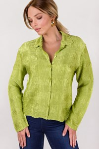 Jolie Mine Light Green Satin Gauffre Cardigan / Size: ? - Fit: S