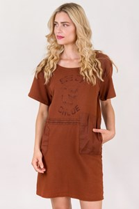 See by Chloé Auburn Cotton Dress with Logo / Size: 38 FR - Fit: S / M