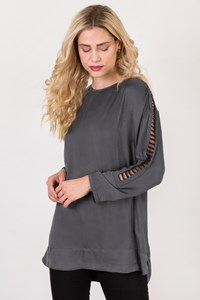 IRO Dark Grey Satin Like Long Blouse / Size: 38 - Fit: M / L