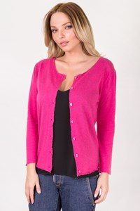 Zadig & Voltaire Luxe Fuchsia Cashmere Cardigan / Size: L - Fit: S
