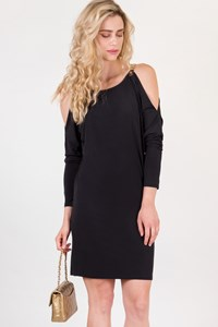 MICHAEL Michael Kors Black Dress with Gold Chain Strap and Open Shoulders / Size: M - Fit: S / M