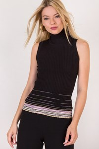 M Missoni Black Knitted High Neck Top / Size: ? - Fit: XS / S