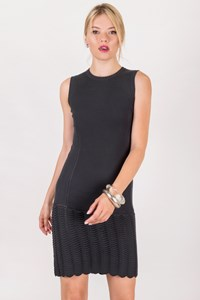 MCQ Mouse Grey Knitted Dress with Perforated Details