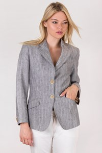 Brooksfield Grey-Ecru Striped Linen Blazer / Size: 42 IT - Fit: XS
