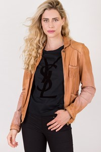 Giorgio Brato Tan Distressed Leather Jacket / Size: 46 - Fit: S