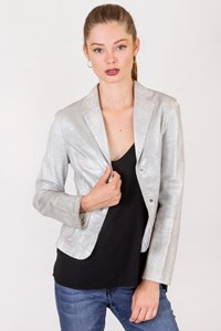 Max+Co Silver Metallic Leather Jacket / Size: 40 IT - Fit: XS
