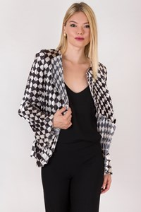 Emporio Armani Black-Ecru Ruched Blazer / Size: 42 IT - Fit: S
