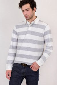 Burberry London White-Grey Striped Cotton Piqué Polo Shirt / Size: Μ - Fit: True to size