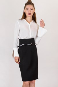 Dolce & Gabbana Black High-Waisted Skirt with Belt / Size: 42 IT - Fit: XS / S