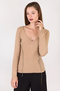 Alessandro Dell'Acqua Beige Wool Blouse with Crystals / Size: 42 IT - Fit: XSmall / S