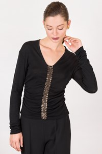 D.Exterior Black Wool Blouse with Sequins / Size: S - Fit: True to size