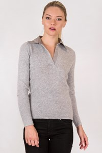 The White Company Grey Cashmere Blouse with Collar / Size: S - Fit: True to size