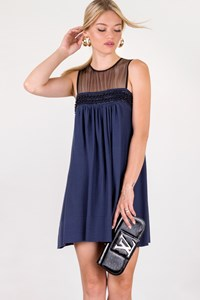 Tracy Reese Blue Dress with Black Mesh / Size: S - Fit: XS