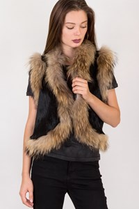 Fur Black Fur Vest with Beige Trim / Size: ? - Fit: S / M