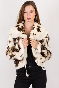 No Brand Double-Sided Shearling-Rabbit Fur Cow Jacket / Size: M - Fit: S