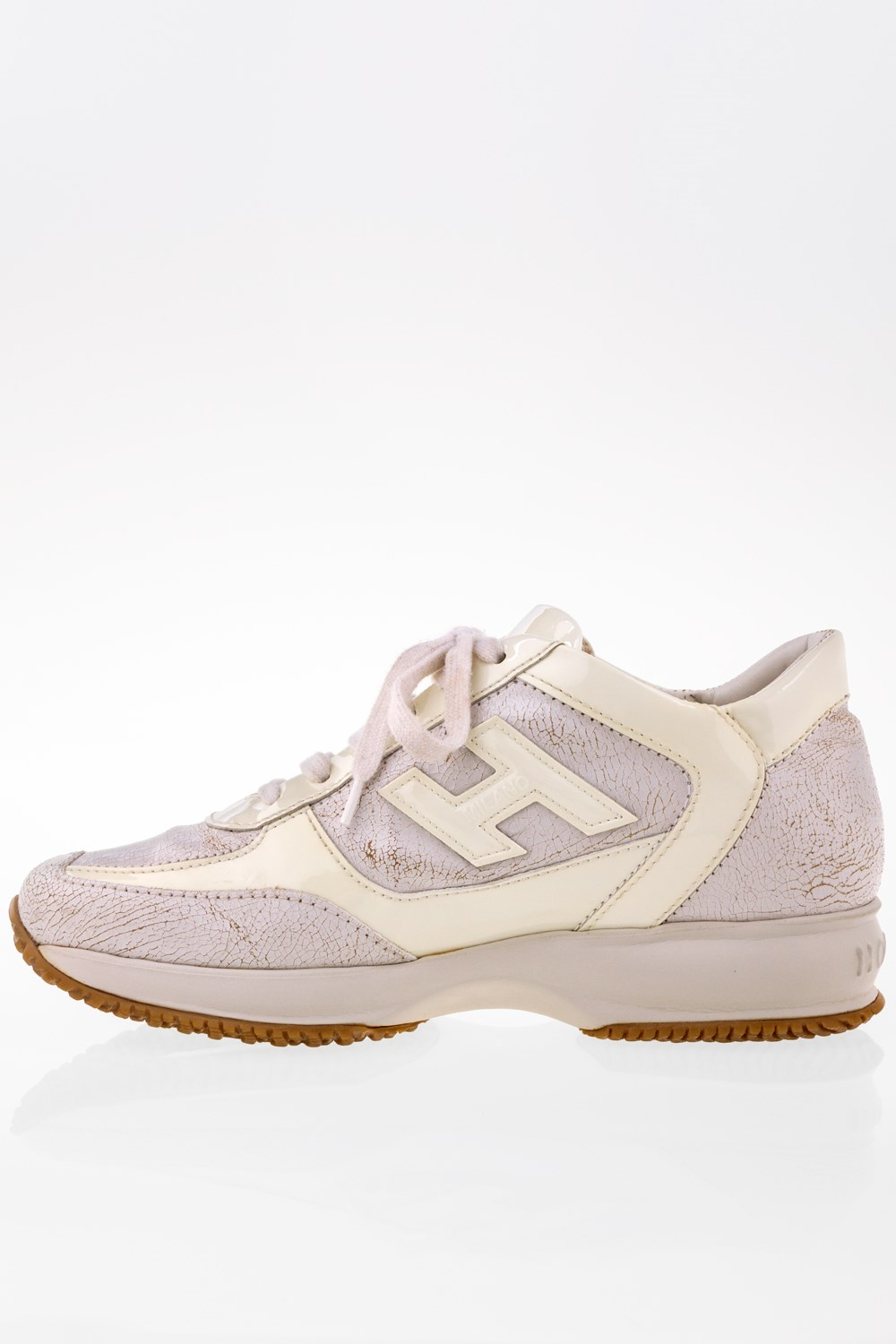 Interactive Sneakers with Cracked Leather and Ecru Patent Leather  Size  36  - Fit  37 06e58a0fe9d