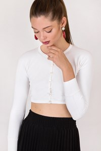Dolce & Gabbana White Cropped Cardigan / Size: 40 IT - Fit: XXS