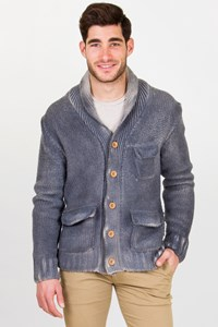Andy Richardson Grey-Beige Wool Knitted Cardigan / Fit: M