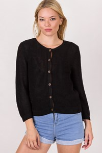 Lauren Ralph Lauren Black Knitted Linen Cardigan / Size: M - Fit: S