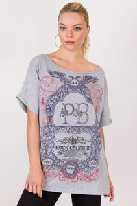 Pierre Balmain Grey Cotton Oversized T-Shirt with Stamp / Size: XS - Fit: One size