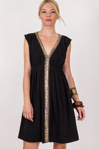 Maje Black Pleated Dress with Golden Sequins / Size: M - Fit: True to size