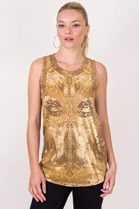 Roberto Cavalli Gold Sleeveless Printed Top / Size: 40 IT - Fit: XS / S