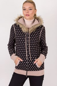 Juicy Couture Black-Beige Wool Hooded Cardigan with Faux Fur / Size: L - Fit: S / M