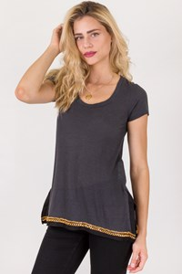 Sacai Luck Grey Linen T-Shirt with Chain / Size: 3 - Fit: S