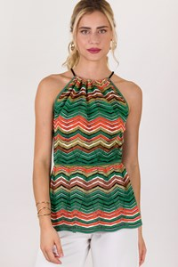 M Missoni Multicoloured Zigzag Striped Halter Neck Top / Size: 40 IT - Fit: S