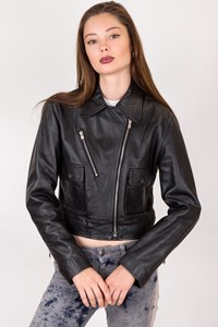 Jigsaw Black Cropped Leather Jacket / Size: 8 UK - Fit: XS / S