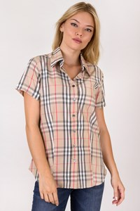 Burberry London Beige Short-sleeve Check Printed Shirt / Size: L - Fit: S / M
