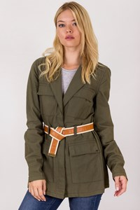 Elizabeth and James Khaki Lightweight Jacket with Belt / Size: M - Fit: S / M
