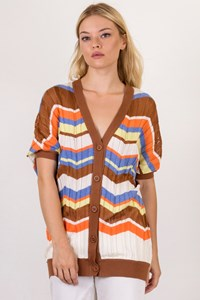 M Missoni White-Brown-Orange Crochet Cardigan / Size: 46 IT - Fit: S / M