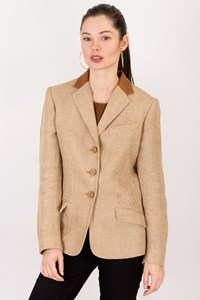 Lauren Ralph Lauren Beige Tweed Linen Blazer with Leather Collar / Size: 6 - Fit: S