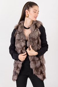 See U Soon Ash Grey Fox Fur Vest / Size: S - Fit: XS