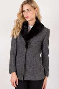 Les Copains Grey Wool Blazer with Herringbone Print / Size: ? - Fit: S