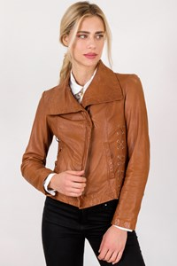 MICHAEL Michael Kors Tan Leather Jacket with Strings / Size: S - Fit: True to size