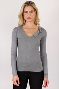 Armani jeans Grey Wool Lightweight Knit Blouse / Size: 42 EU - Fit: True to size