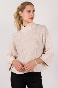 Colorblock Ecru Knitted Blouse with Wide Sleeves / Size: M/L- Fit: One size