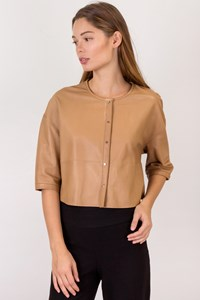 Massimo Dutti Beige Leather Button Blouse / Size: S - Fit: S