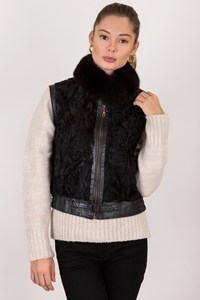 No Brand Black Leather Vest with Fur Collar / Size: ? - Fit: XS / S