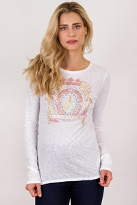Juicy Couture White Cotton Printed Blouse with Crystals / Size: M - Fit: S / M