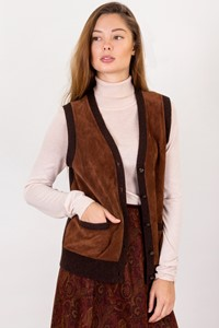 Lauren Ralph Lauren Brown Wool Knitted Vest with Suede Details / Size: S - Fit: True to size